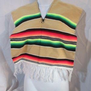 NEW Mexican Serape Blanket Poncho Vest Fringe
